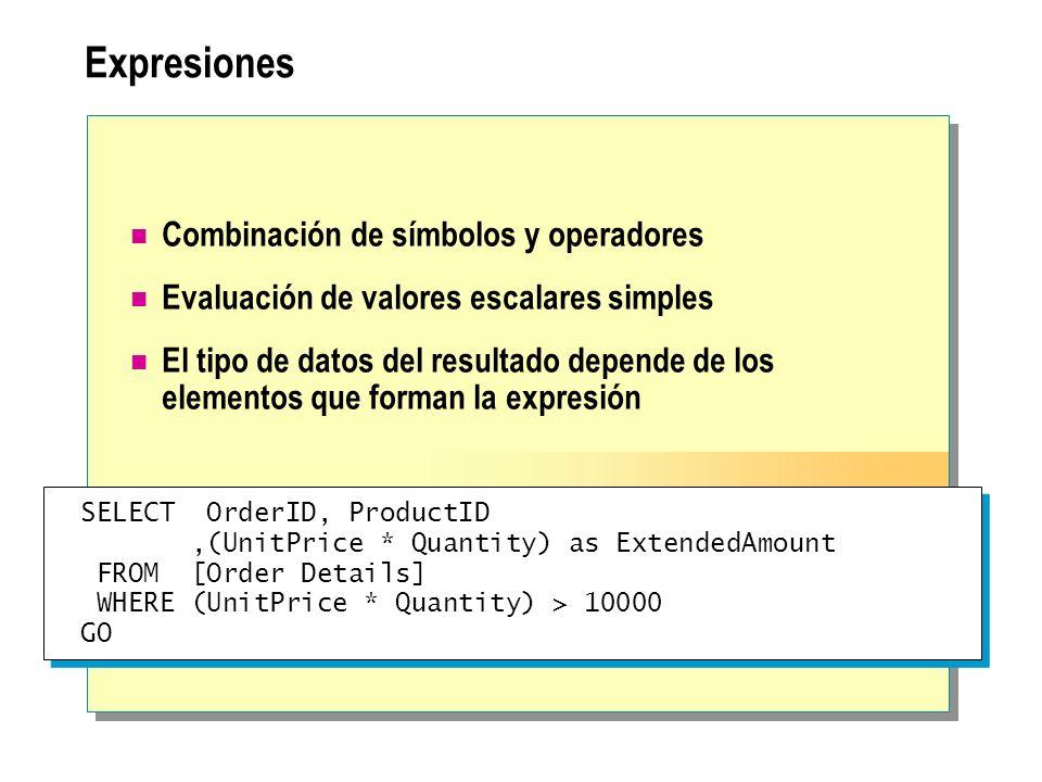 Expresiones Combinación de símbolos y operadores