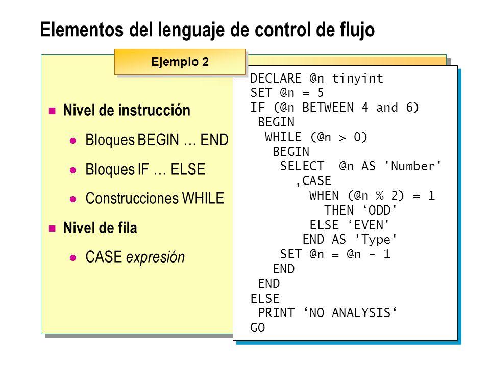 Elementos del lenguaje de control de flujo