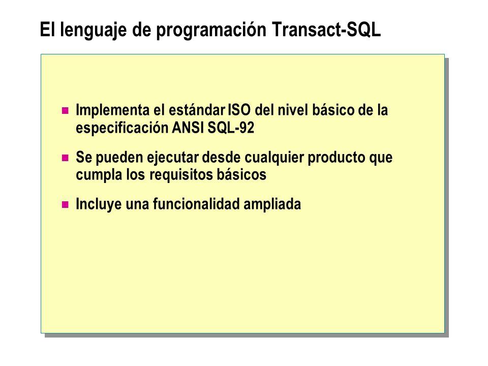 El lenguaje de programación Transact-SQL