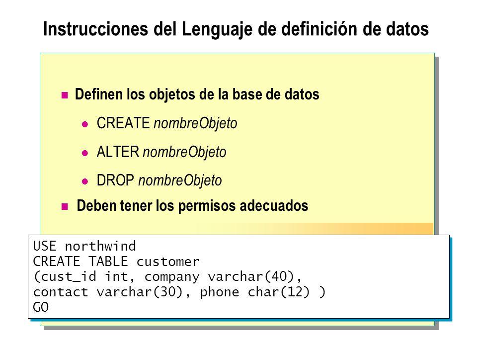 Instrucciones del Lenguaje de definición de datos