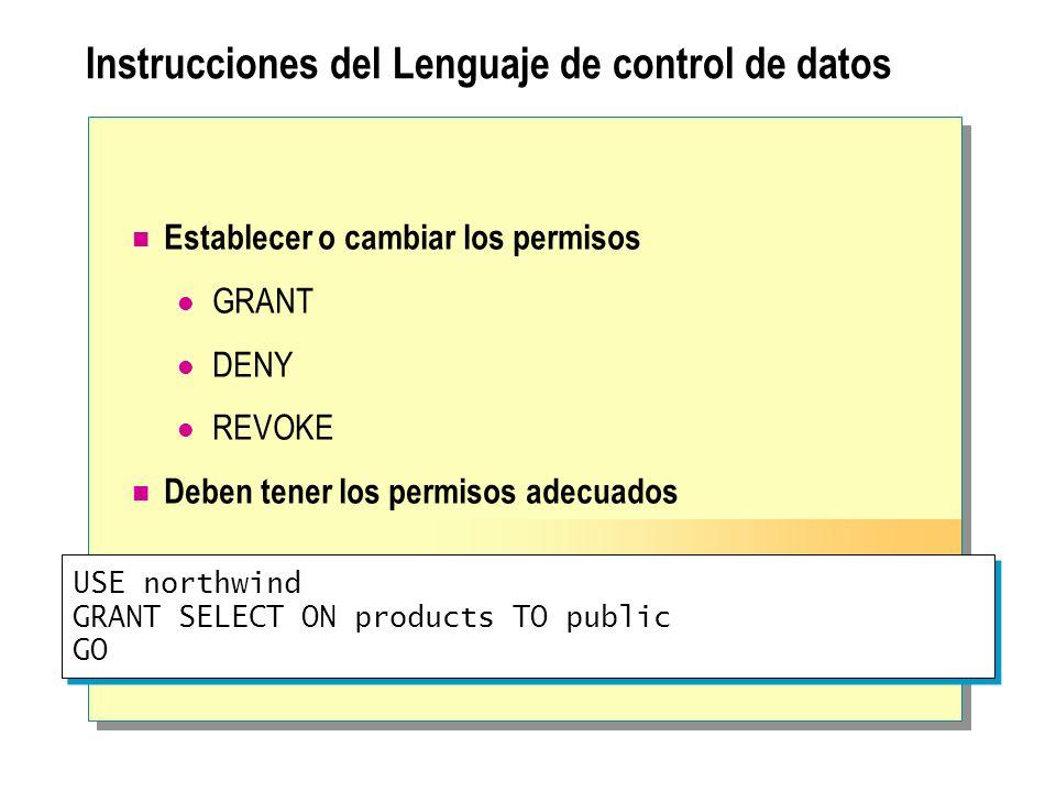 Instrucciones del Lenguaje de control de datos