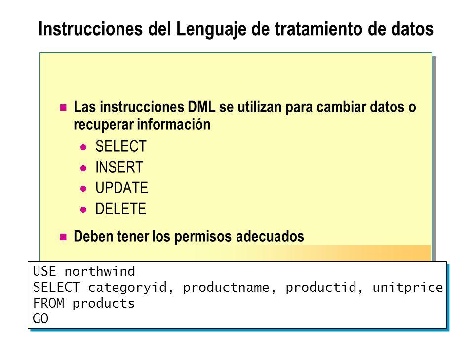Instrucciones del Lenguaje de tratamiento de datos