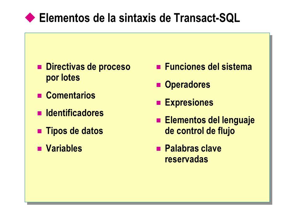 Elementos de la sintaxis de Transact-SQL