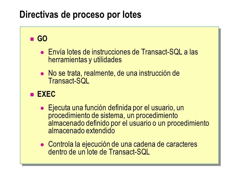 Directivas de proceso por lotes