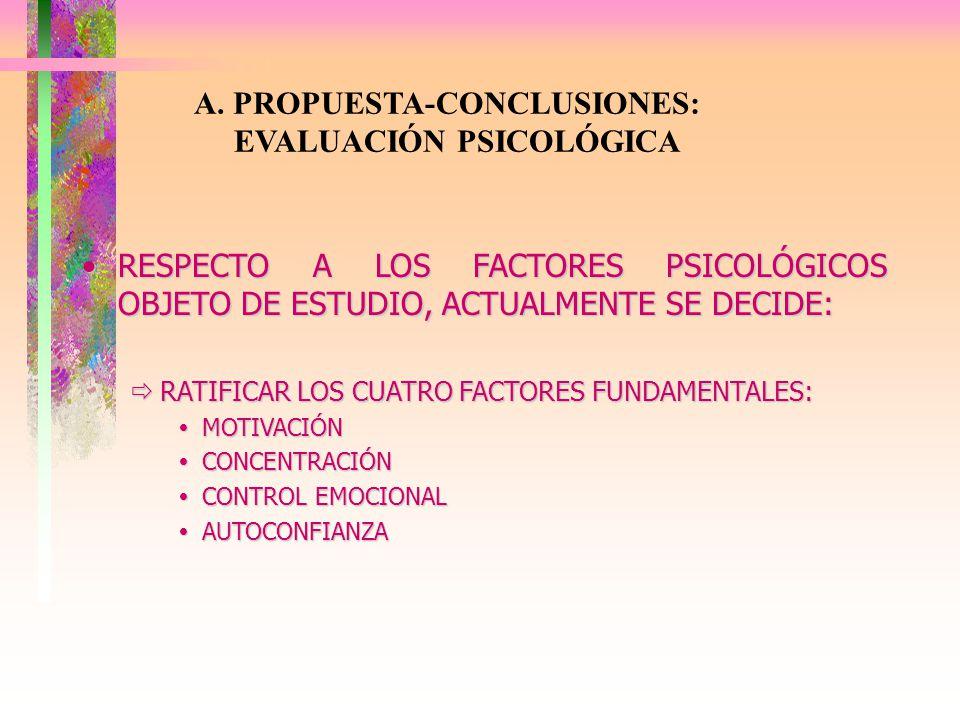 A. PROPUESTA-CONCLUSIONES: EVALUACIÓN PSICOLÓGICA