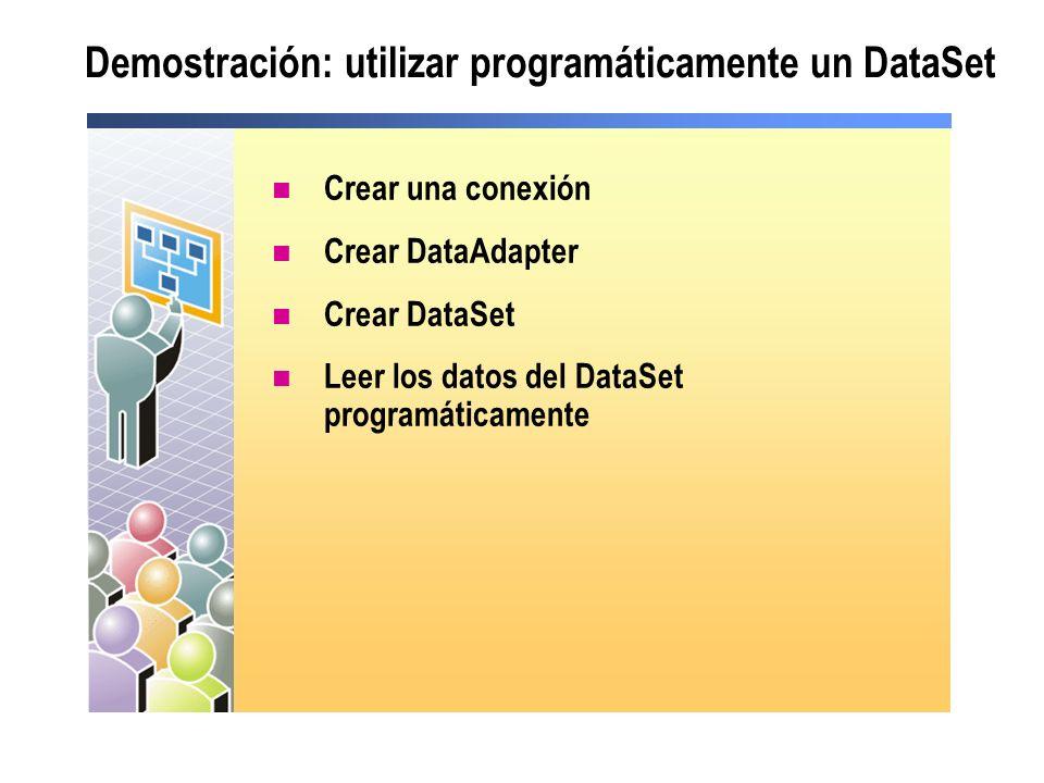 Demostración: utilizar programáticamente un DataSet