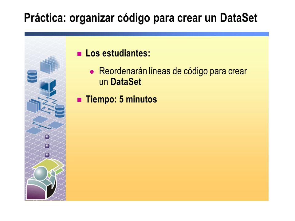 Práctica: organizar código para crear un DataSet