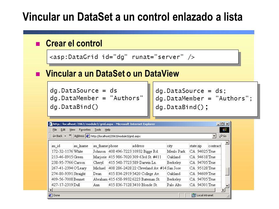 Vincular un DataSet a un control enlazado a lista