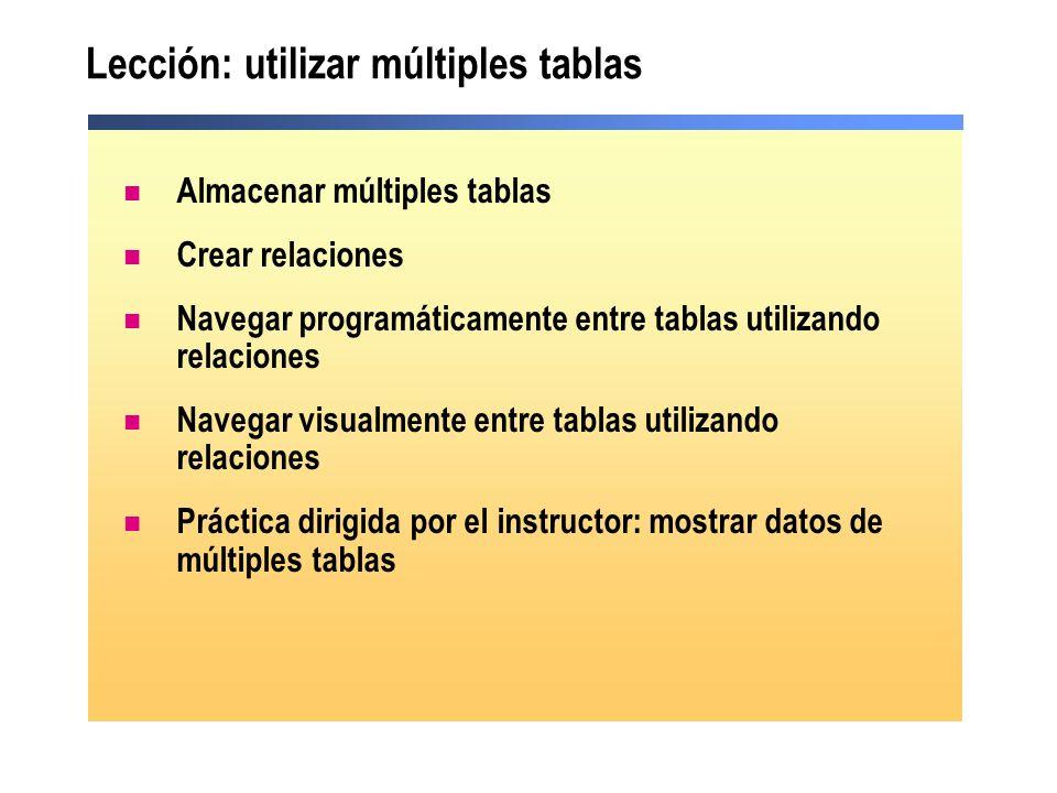 Lección: utilizar múltiples tablas