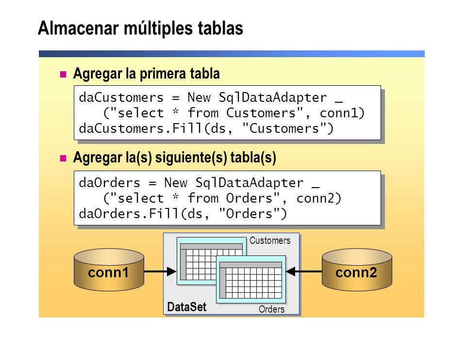 Almacenar múltiples tablas