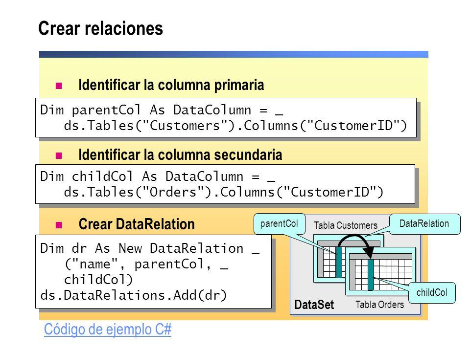 Crear relaciones Identificar la columna primaria