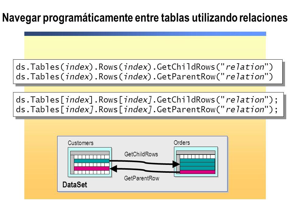 Navegar programáticamente entre tablas utilizando relaciones
