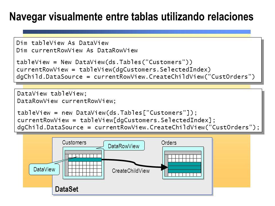 Navegar visualmente entre tablas utilizando relaciones