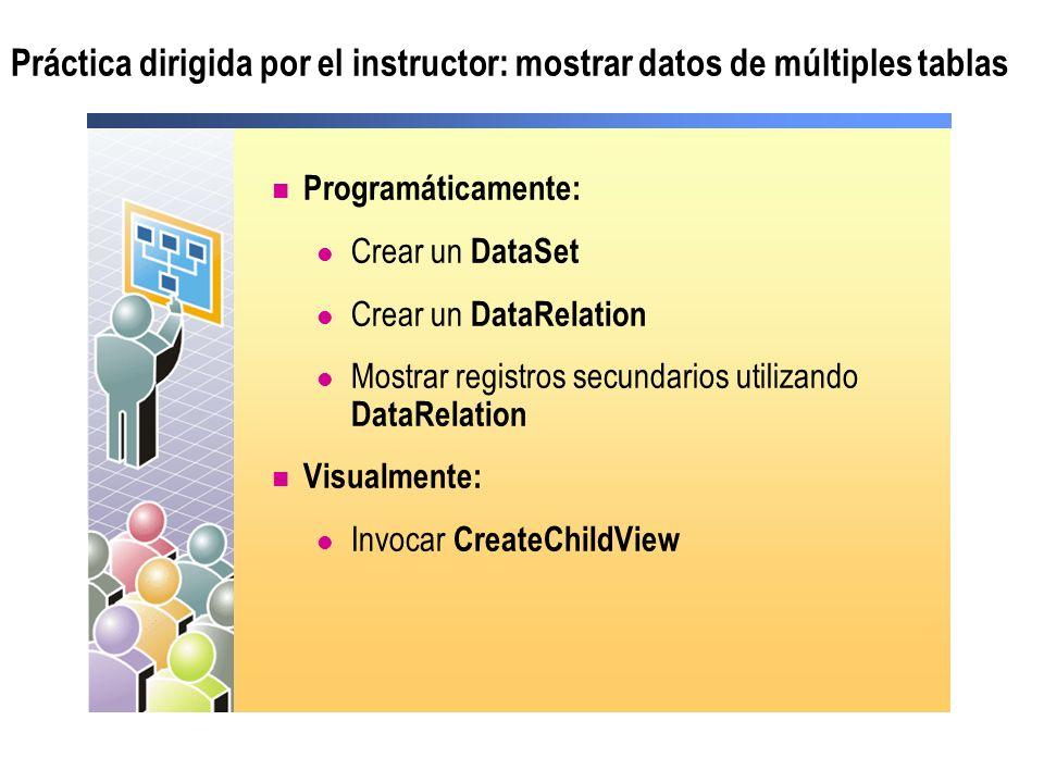 Práctica dirigida por el instructor: mostrar datos de múltiples tablas