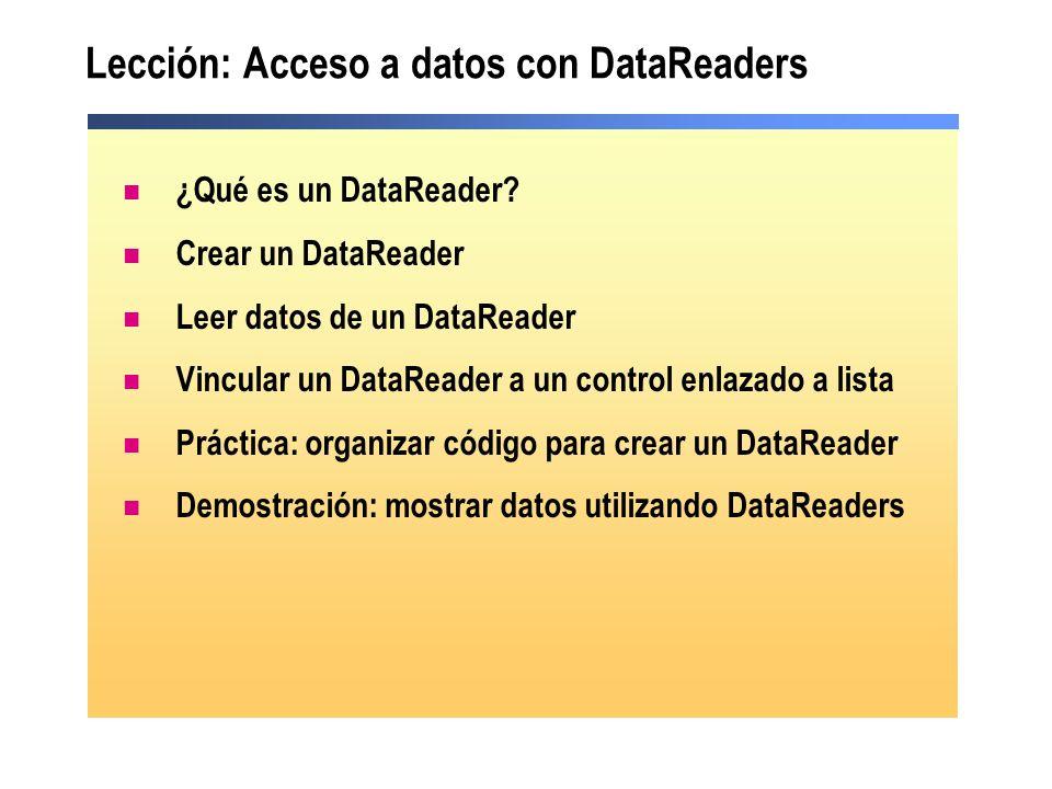 Lección: Acceso a datos con DataReaders