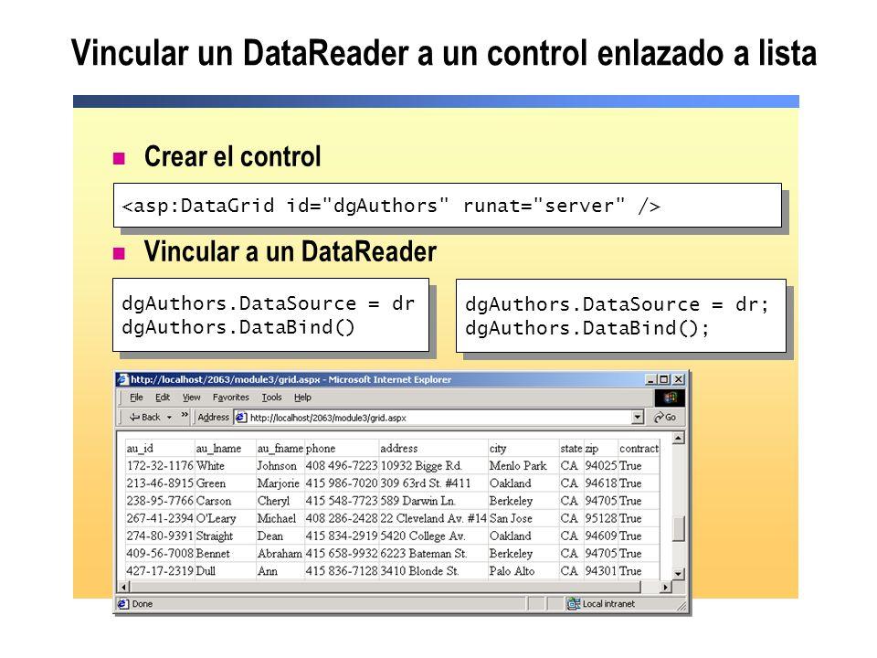 Vincular un DataReader a un control enlazado a lista