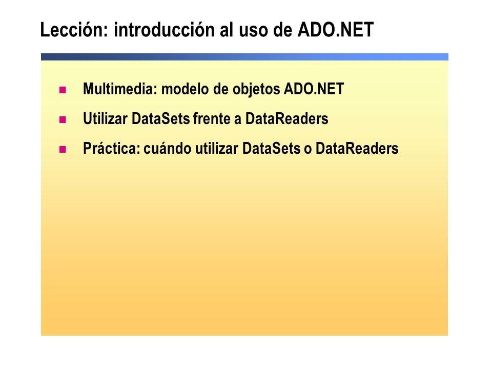 Lección: introducción al uso de ADO.NET