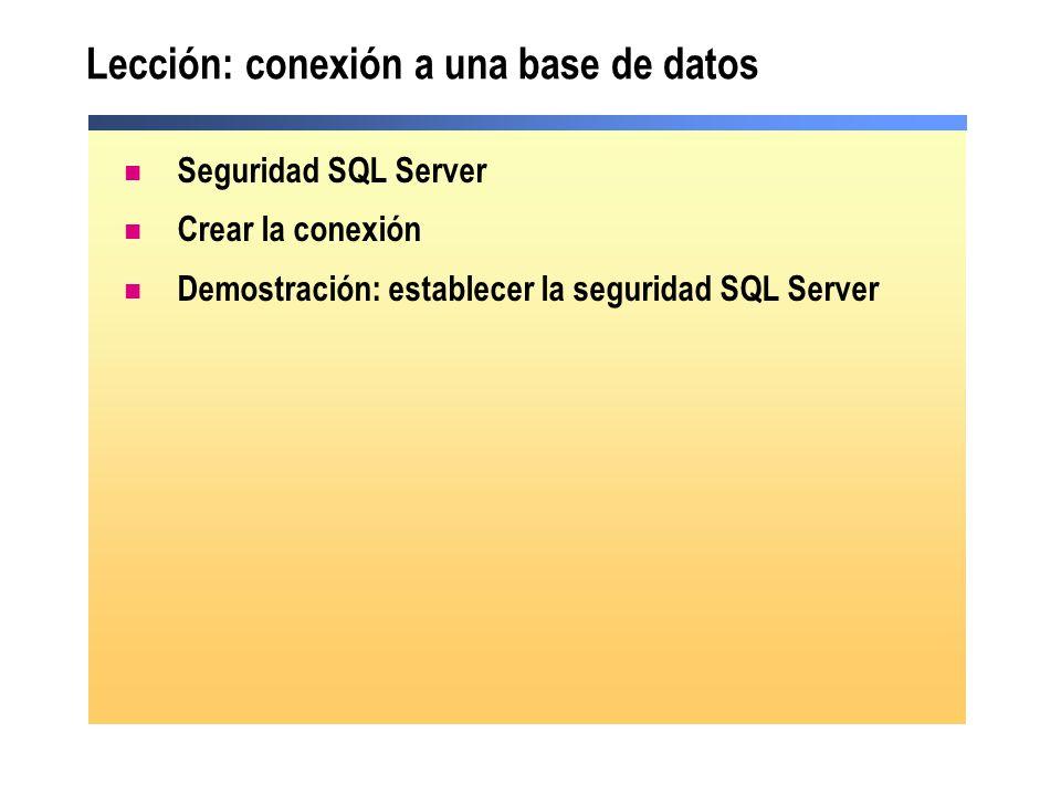 Lección: conexión a una base de datos