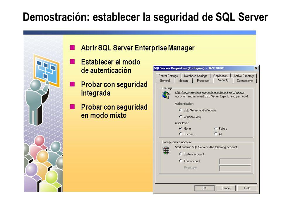 Demostración: establecer la seguridad de SQL Server