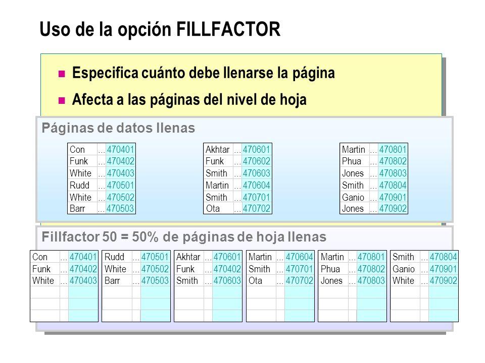 Uso de la opción FILLFACTOR