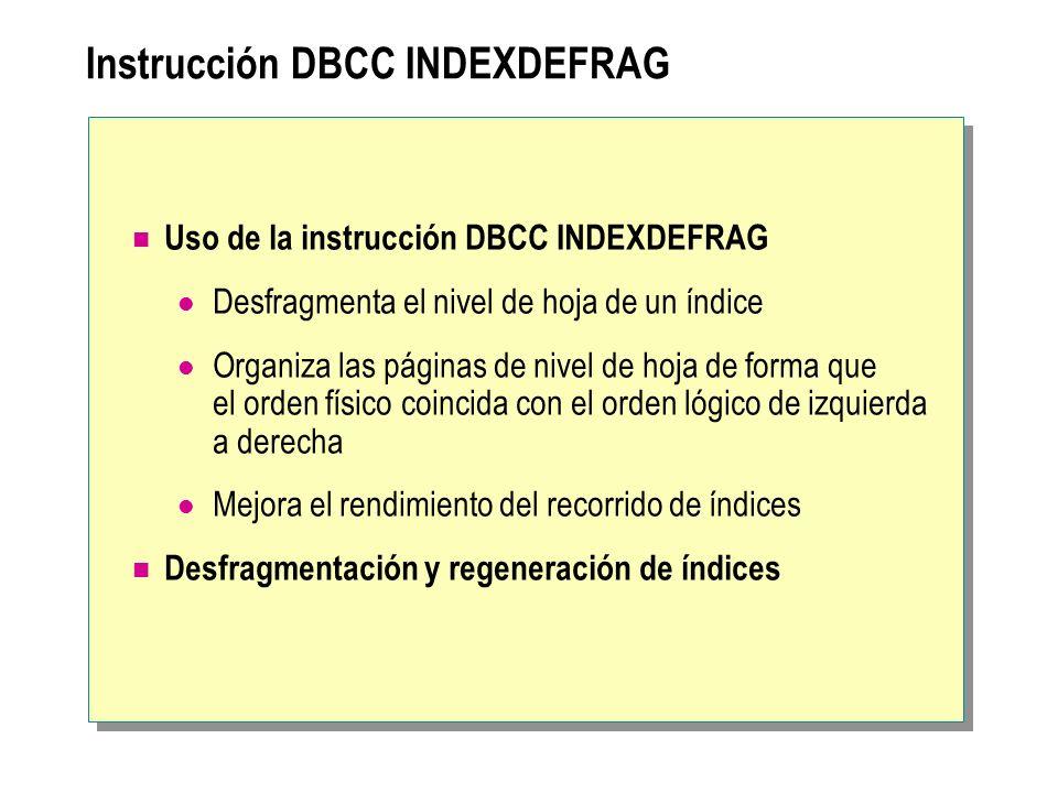 Instrucción DBCC INDEXDEFRAG