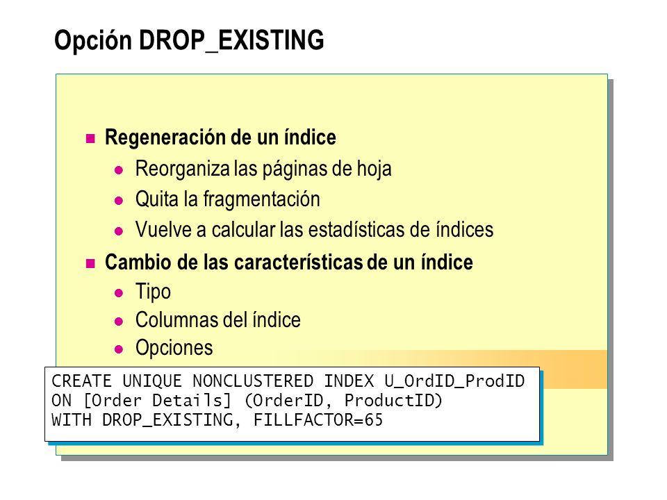 Opción DROP_EXISTING Regeneración de un índice