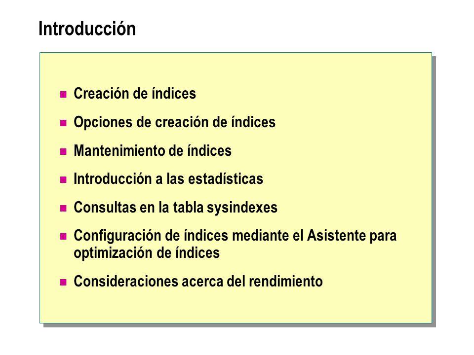 Introducción Creación de índices Opciones de creación de índices
