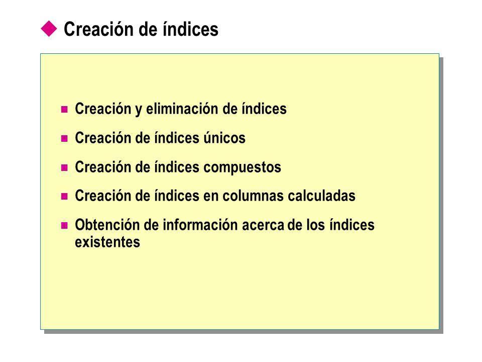 Creación de índices Creación y eliminación de índices