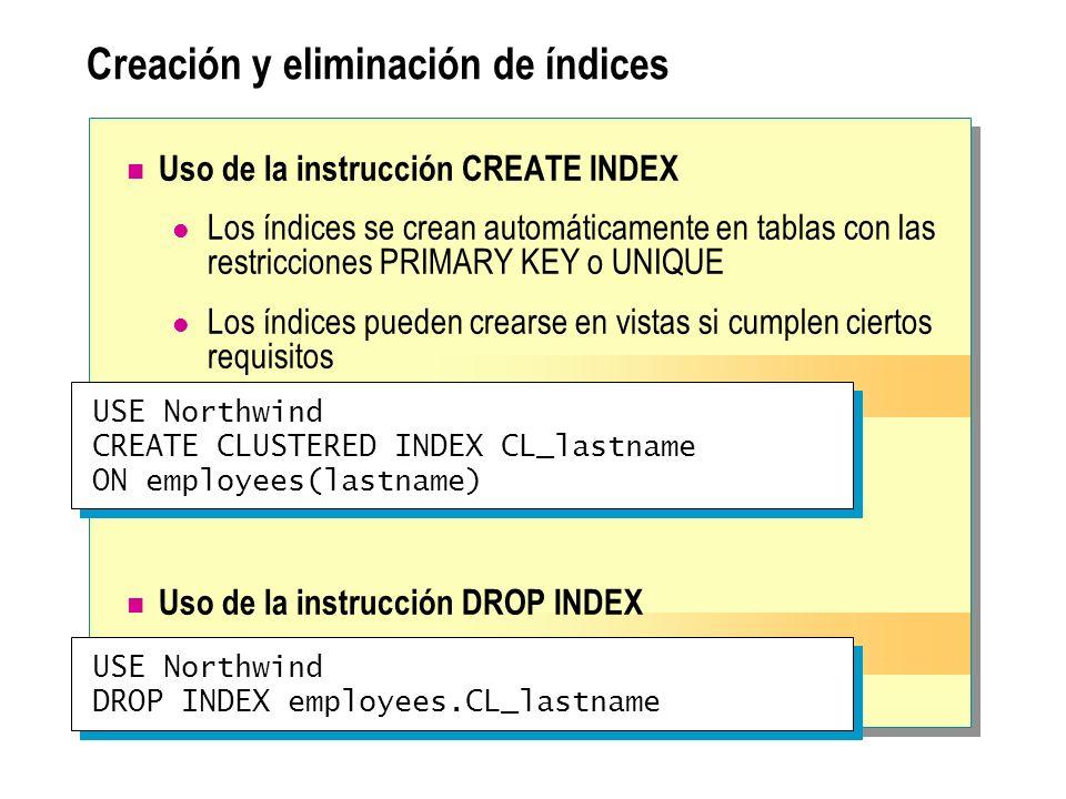 Creación y eliminación de índices