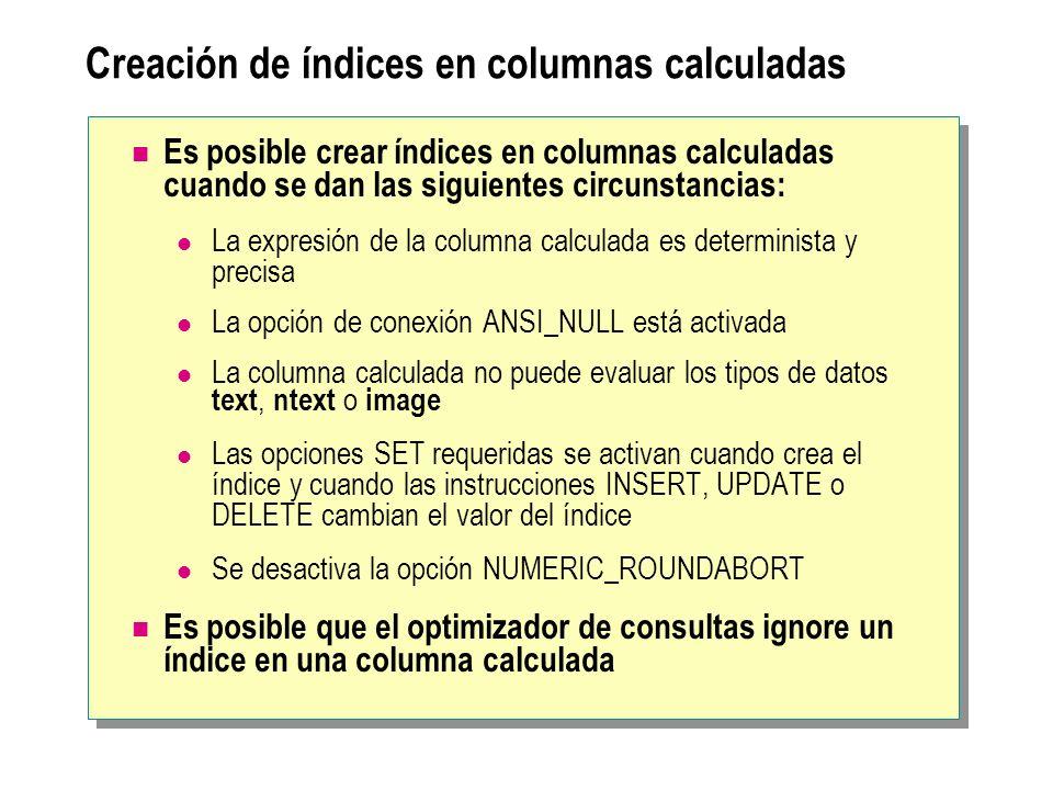 Creación de índices en columnas calculadas