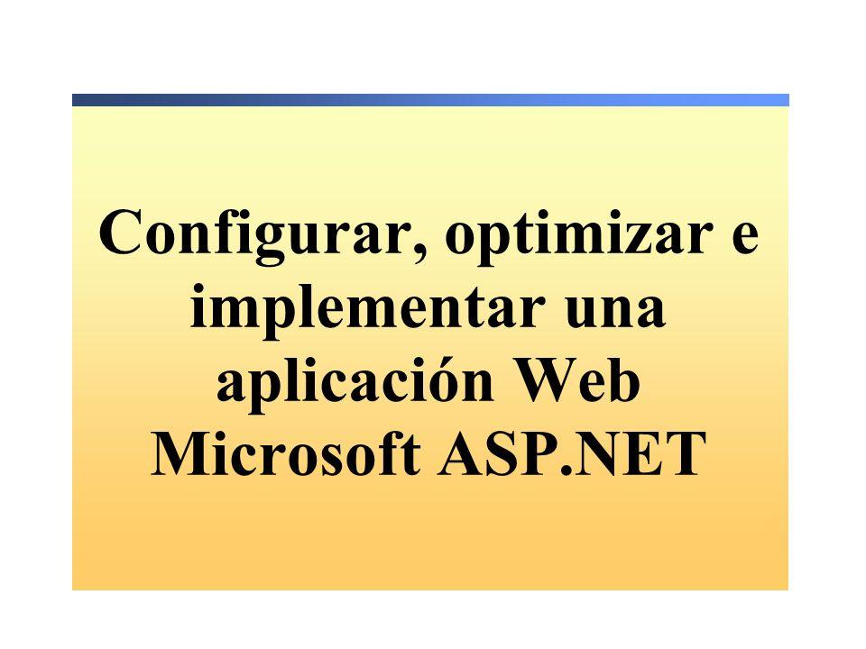 Configurar, optimizar e implementar una aplicación Web Microsoft ASP