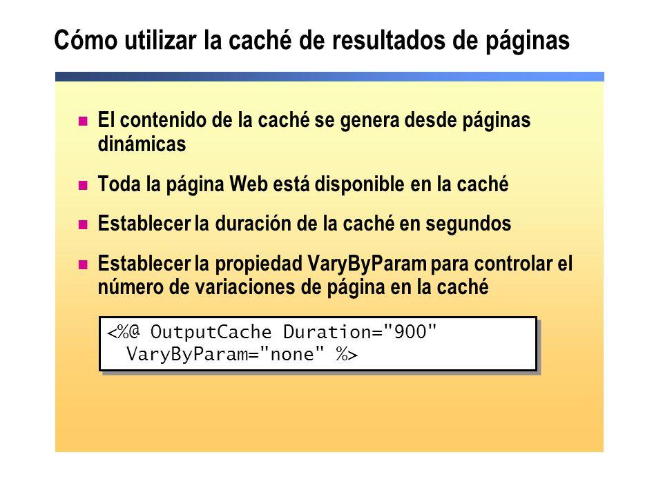 Cómo utilizar la caché de resultados de páginas