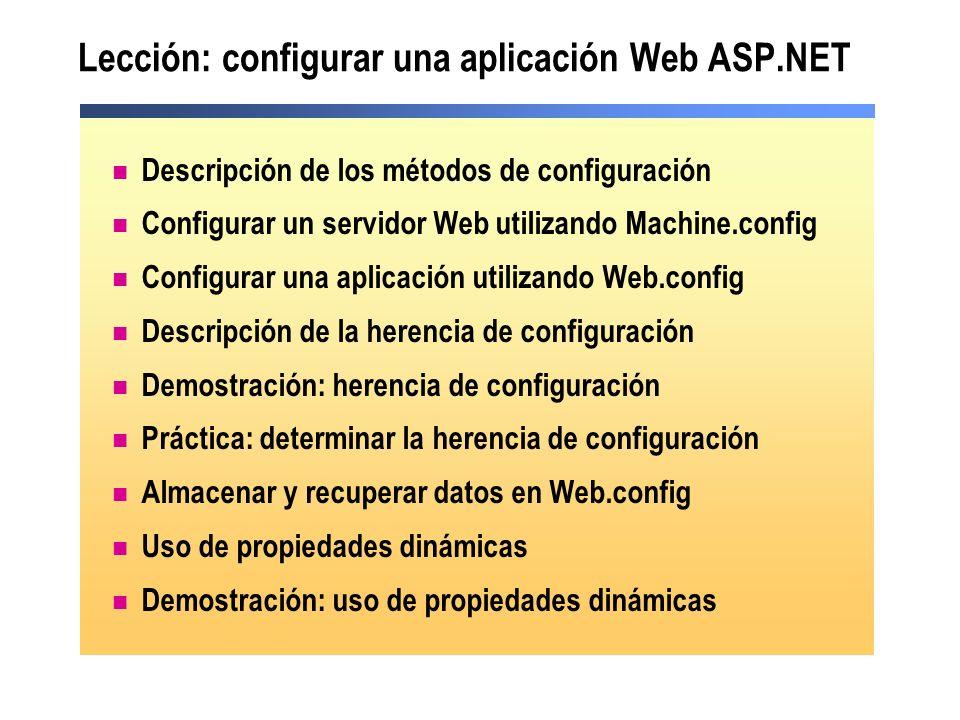 Lección: configurar una aplicación Web ASP.NET