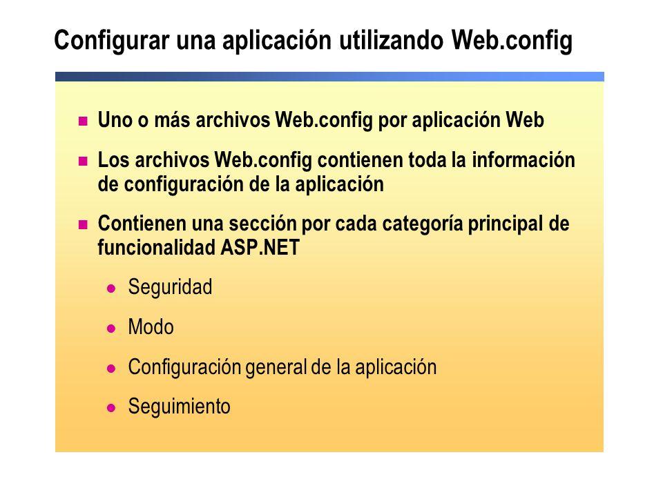 Configurar una aplicación utilizando Web.config