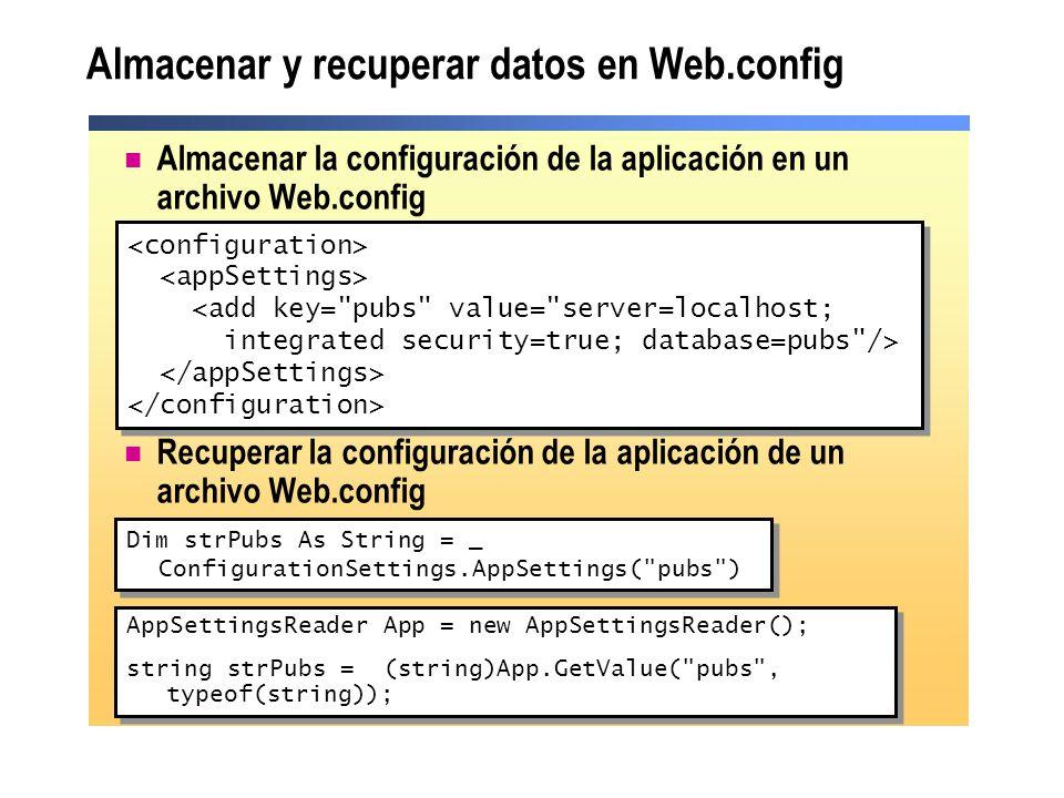 Almacenar y recuperar datos en Web.config