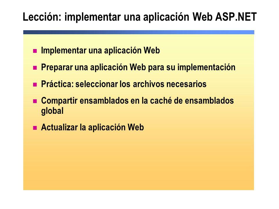 Lección: implementar una aplicación Web ASP.NET