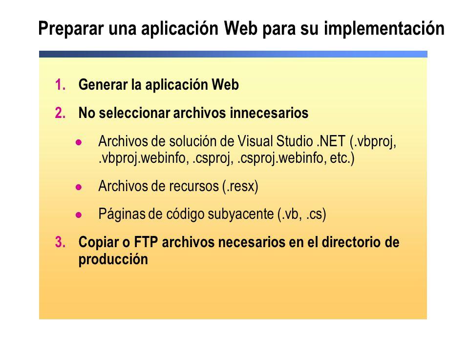 Preparar una aplicación Web para su implementación