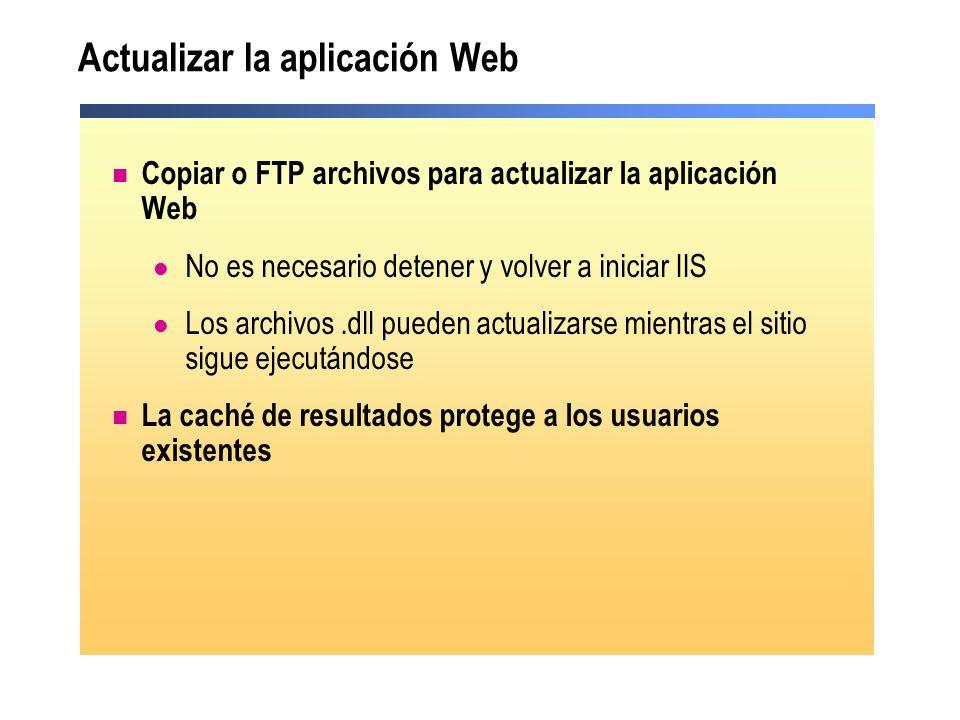 Actualizar la aplicación Web