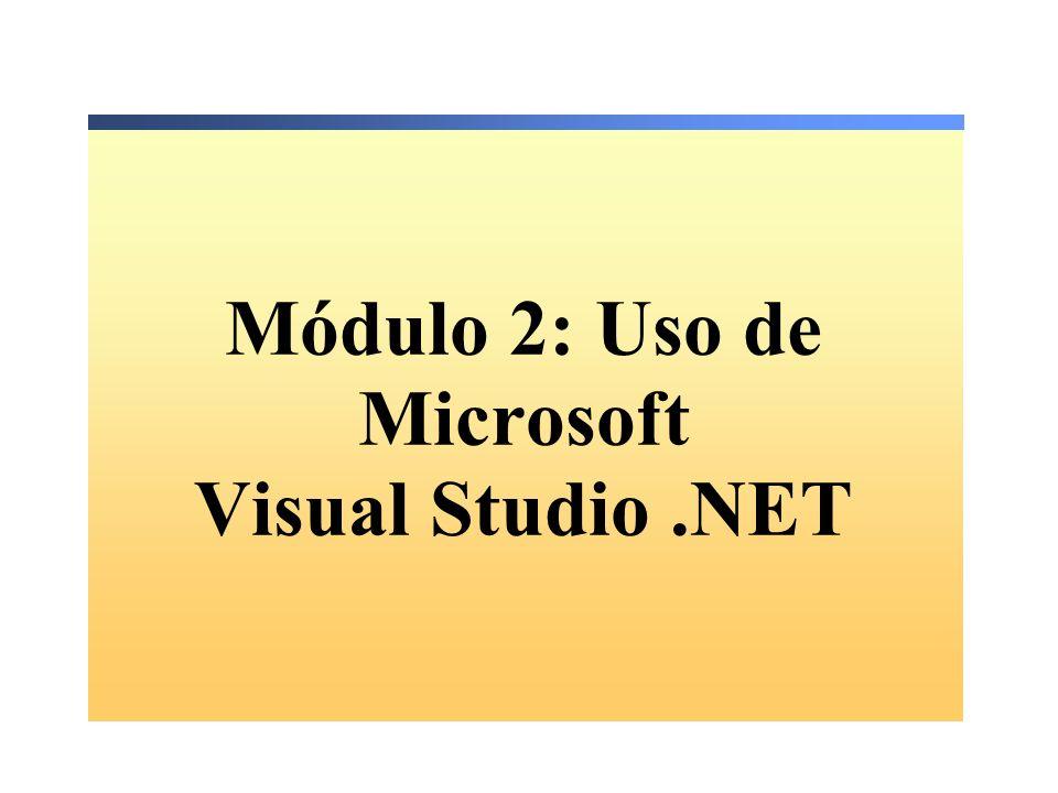 Módulo 2: Uso de Microsoft Visual Studio .NET