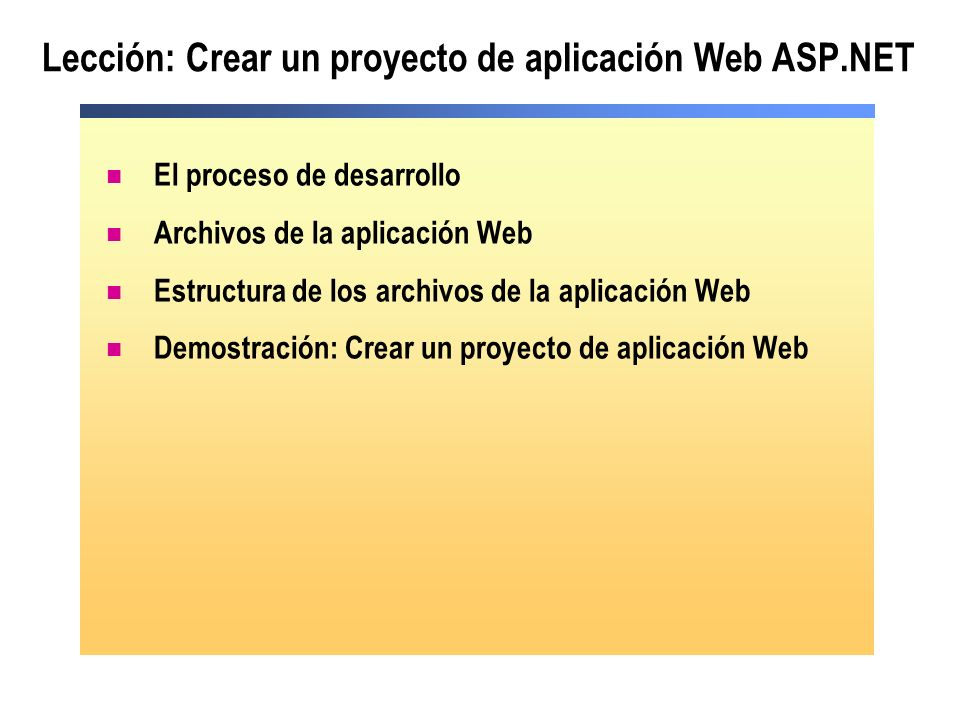 Lección: Crear un proyecto de aplicación Web ASP.NET