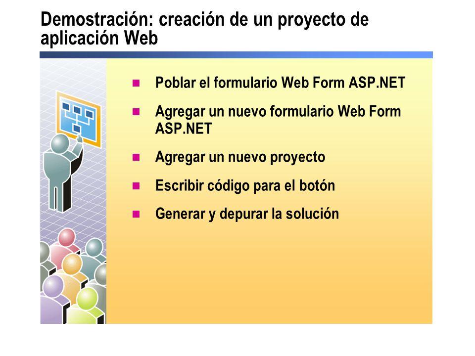 Demostración: creación de un proyecto de aplicación Web