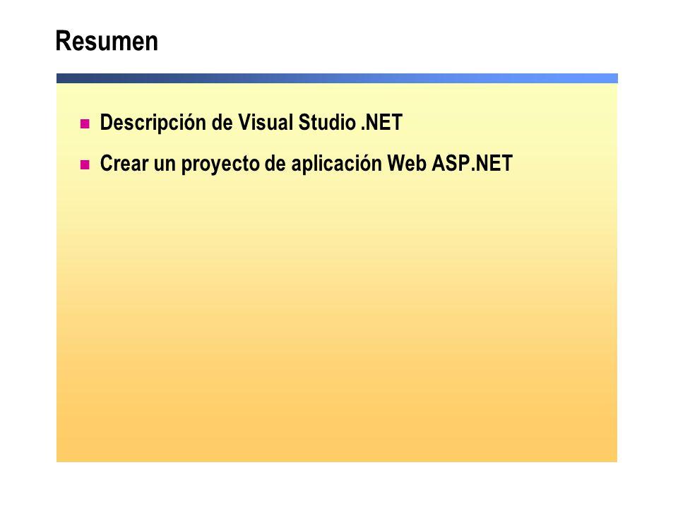 Resumen Descripción de Visual Studio .NET