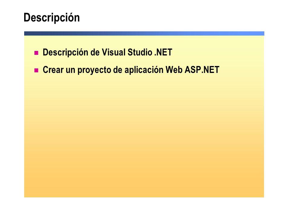 Descripción Descripción de Visual Studio .NET