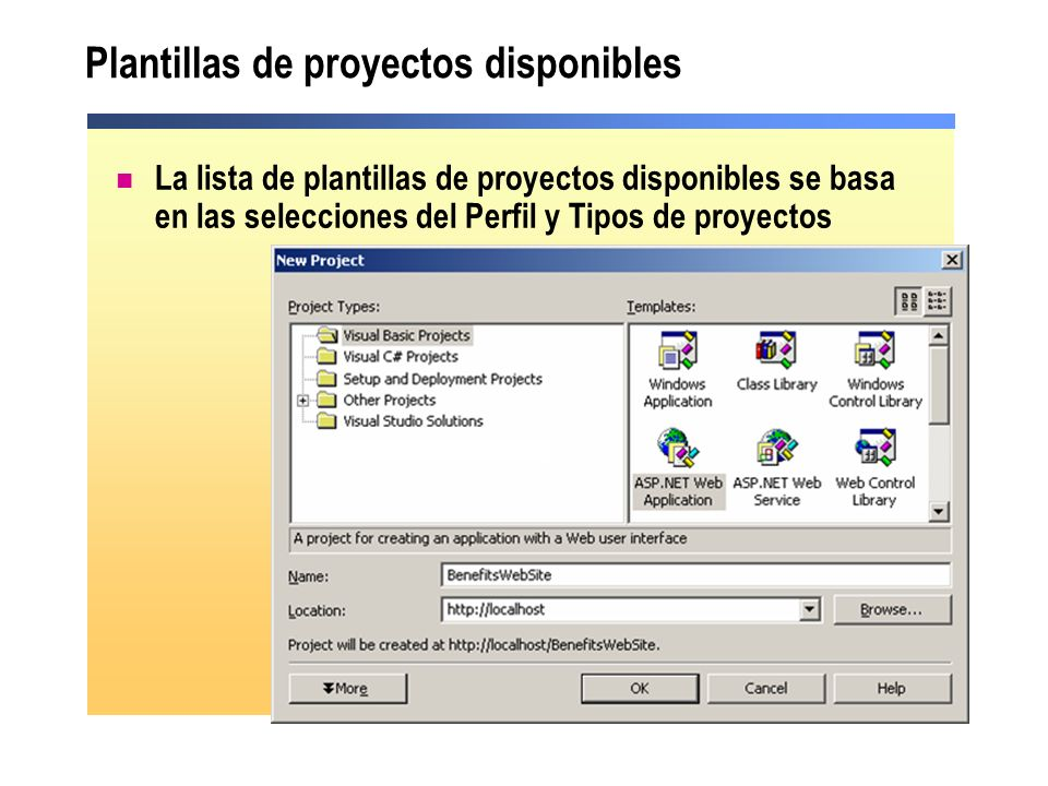 Plantillas de proyectos disponibles
