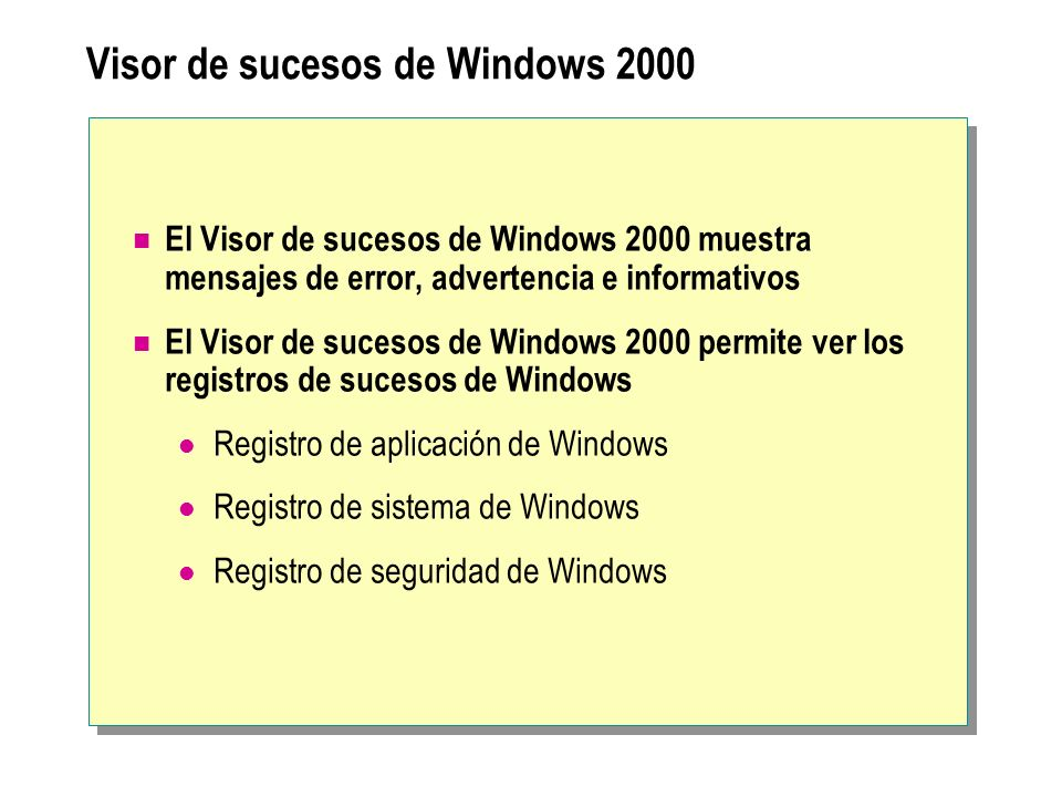 Visor de sucesos de Windows 2000