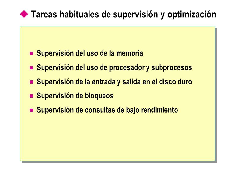 Tareas habituales de supervisión y optimización