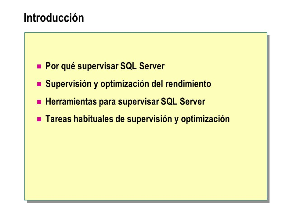Introducción Por qué supervisar SQL Server
