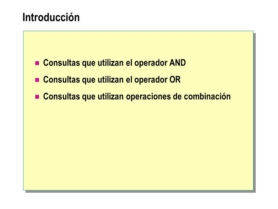 Introducción Consultas que utilizan el operador AND
