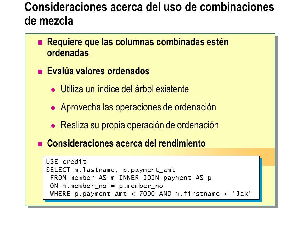 Consideraciones acerca del uso de combinaciones de mezcla