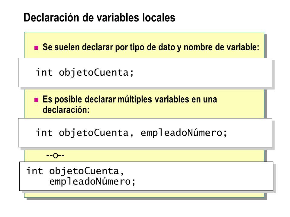 Declaración de variables locales